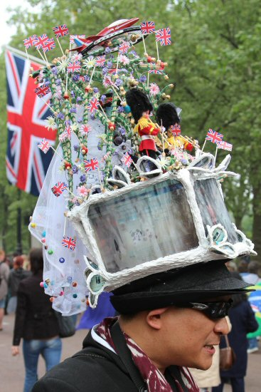 Man wearing Royal Wedding hat. Prince William and Kate, 29th April 2011