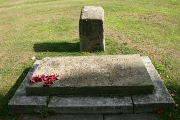 Memorial stone, behind which King Harold is said to have been buried in 1066, Waltham Abbey