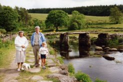 My mother, husband and son, Clapper Bridge, Postbridge, Dartmoor