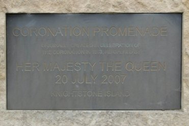 Plaque commemorating opening of Coronation Promenade, by H.M. The Queen, 20th July 2007, Knightstone Island, Weston-super-Mare
