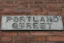 'Portland Street', street sign, Hanley, Stoke-on-Trent