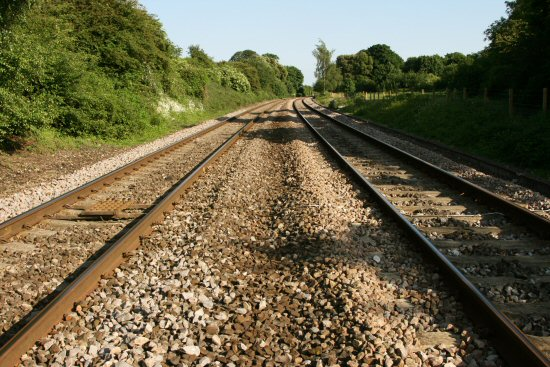 Railway track near Thames Head, source of River Thames, looking towards Kemble