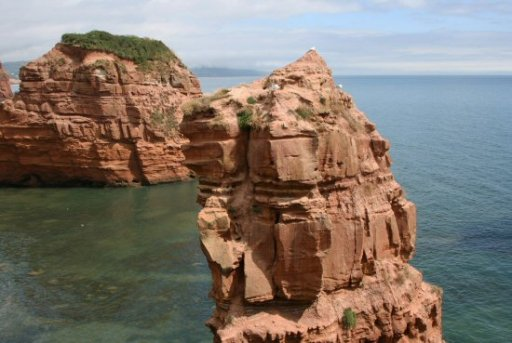 Red sandstone sea stacks, Ladram Bay, near Sidmouth