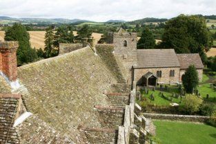 Roof of the Hall and St. John the Baptist Church, from South Tower, Stokesay Castle