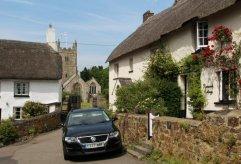 Rookwood Cottage and Holy Trinity Church, Drewsteignton
