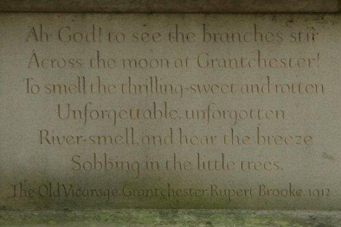 Rupert Brooke's poem, 'The Old Vicarage, Grantchester', Rupert Brooke statue, The Old Vicarage, Grantchester