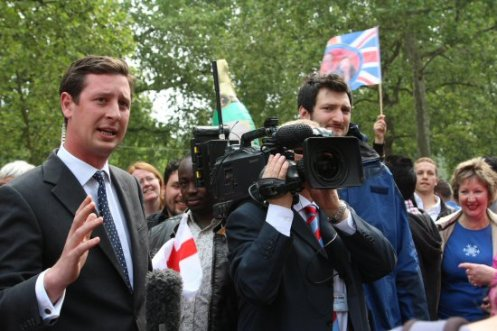 Sky TV reporter, Alastair Bunkall, The Mall. Royal Wedding, Prince William and Kate, 29th April 2011
