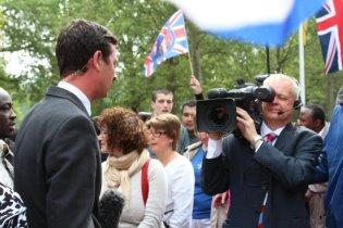 Sky TV reporter, Alastair Bunkall, The Mall. Royal Wedding, Prince William and Kate, 29th April 2011
