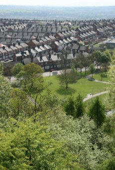 Sneyd Green, from viewpoint of reclaimed coal slag heap, Central Forest Park, Hanley, Stoke-on-Trent