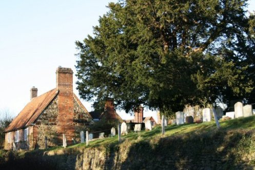 St. Peter's Churchyard and Rose Cottage, Limpsfield