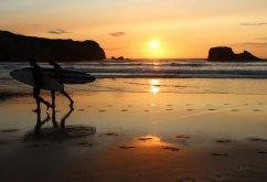 Sunset, surfers, Perranporth
