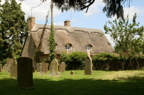 Thatched cottage, from St. Mary's churchyard, Frampton on Severn
