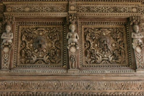Carvings above the fireplace in the Living Room, Stokesay Castle