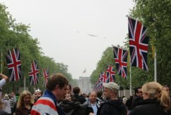 The Flypast, Lancaster, Spitfire and Hurricane Aircraft, above The Mall. Royal Wedding, 29th April 2011