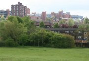 The Potteries Shopping Centre, from Central Forest Park, Hanley, Stoke-on-Trent