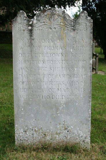 Thomas Hardy's grandmother's grave. St. Michael's Churchyard, Stinsford