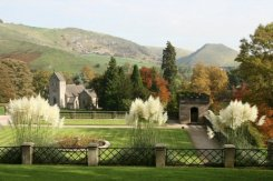 Thorpe Cloud and Bunster Hill, from Manifold Tea Rooms, Ilam Park, Ilam, Peak District