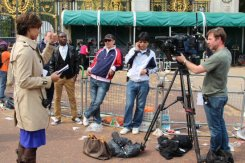 TV broadcaster, Buckingham Palace. Royal Wedding, Prince William and Kate, 29th April 2011