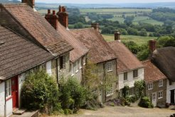 Vale of Blackmore and cottages, Gold Hill, Shaftesbury