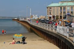Weymouth Pavilion and road to Ferry Terminal, from beach, Weymouth
