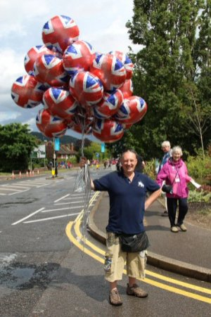 Balloon seller, Dorking. Women's Olympic Road Cycling Road Race, 2012