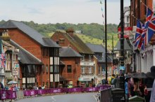Box Hill and Olympic Rings, from High Street, Dorking. Women's Olympic Road Cycling Road Race, 2012