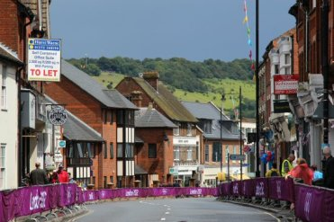 Box Hill, from High Street, Dorking. Women's Olympic Road Cycling Road Race, 2012