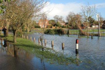 Flooded Ferry Lane, Laleham. Floods February 2014