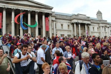 Games Makers, steps of The National Gallery. Olympic and Paralympic Victory Parade 2012