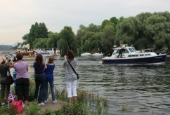 Gloriana and Harbour Master. Olympic Torch, The Gloriana, River Thames, Richmond. 27th July 2012