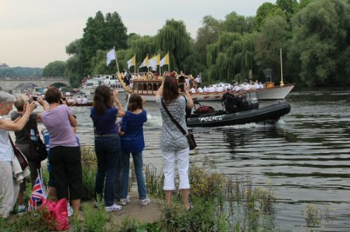 Gloriana and police. Olympic Torch, The Gloriana, River Thames, Richmond. 27th July 2012