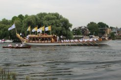 Gloriana. Olympic Torch, The Gloriana, River Thames, Richmond. 27th July 2012