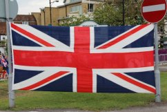Great Britain flag, Hampton Court. Olympic Road Cycling Time Trials, 2012