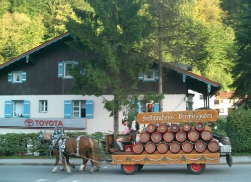 Horse drawn waggon, with beer barrels, Berchtesgaden