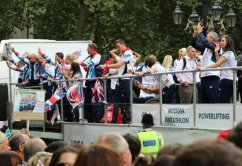 Judo, Modern Pentathlon, Powerlifting and Rowing float. Olympic and Paralympic Victory Parade 2012