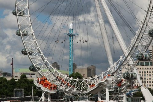 London Eye and Star Flyer ride, South Bank. Women's Olympic Marathon, 2012
