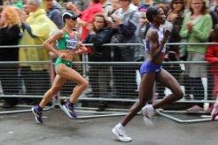 Marisa Barros, Portugal and Helalia Johannes, Namibia. Women's Olympic Marathon, 2012