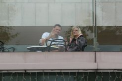 My son and his girlfriend, Royal Festival Hall. Olympic and Paralympic Victory Parade 2012