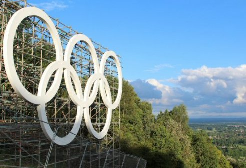 Olympic Rings, Box Hill. Women's Olympic Road Cycling Road Race, 2012