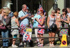 Patriotic spectators. Olympic Torch Relay, Richmond 2012