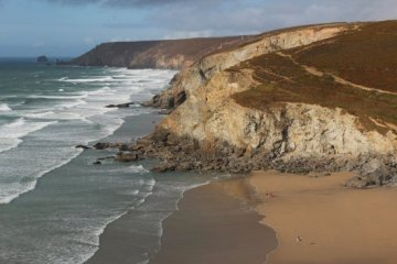 Porthtowan Beach, Chapel Porth and St. Agnes Head, from cliff path, Porthtowan
