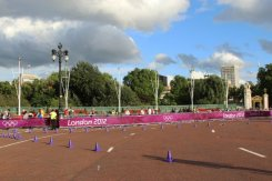 Queen Victoria Memorial Gardens, Buckingham Palace, Men's 20K Race Walk route. London 2012 Olympic Games