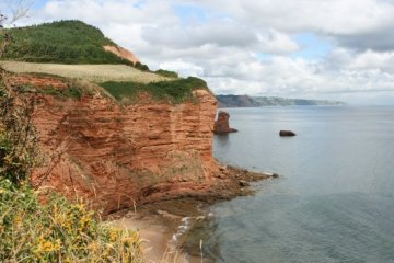 Red sandstone cliffs, Sandy Bay and Beer Head, next to Ladram Bay