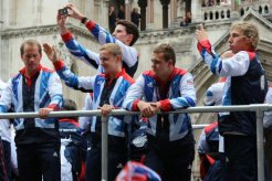 Shooting and Swimming float. Olympic and Paralympic Victory Parade 2012