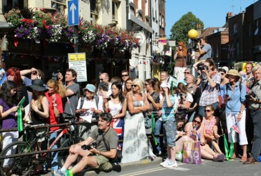 Spectators. Olympic Torch Relay, Richmond 2012