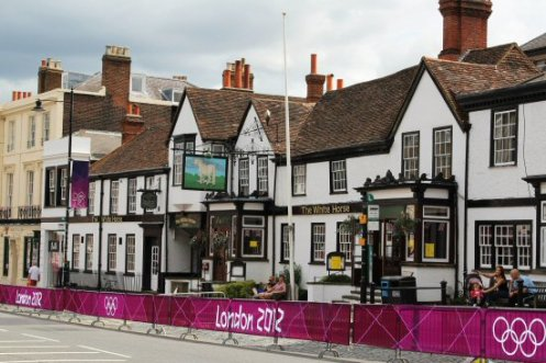 The White Horse Hotel, Dorking. Women's Olympic Road Cycling Road Race, 2012