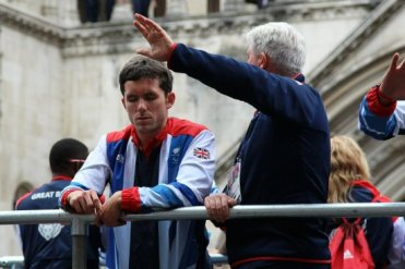 Tony Larkin and footballer. Olympic and Paralympic Victory Parade 2012