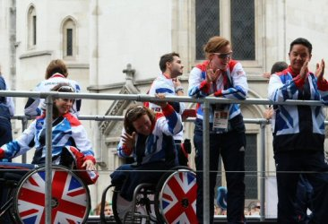 Triathlon, Beach Volleyball and Sitting Volleyball float. Olympic and Paralympic Victory Parade 2012