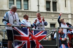 Wheelchair Basketball, Boccia, Boxing and Athletics float. Olympic and Paralympic Victory Parade 2012