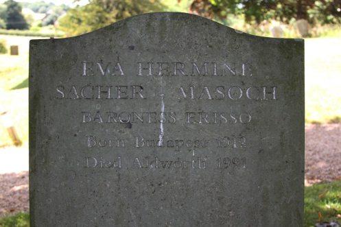 Grave of Eva Hermine Sacher-Masoch, Baroness Erisso, mother of Marianne Faithfull, St. Mary's Churchyard, Aldworth